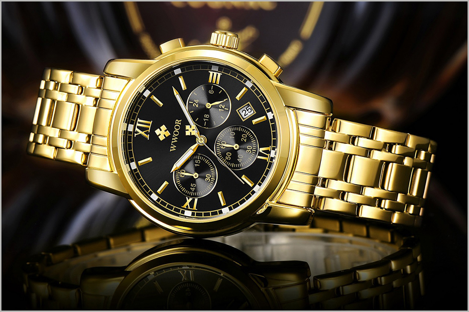 New Gold Quartz Wristwatch Men Watches Top Brand Luxury Stainless Steel Male Wrist Watch Golden Clock Relogio Masculino (3)