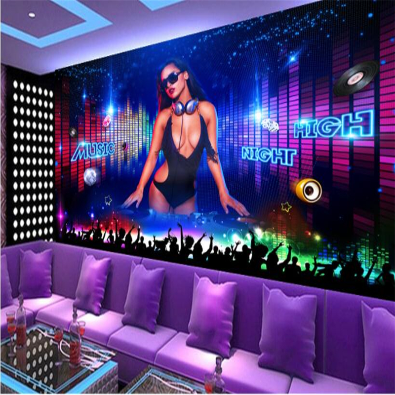 Beibehang Custom Wallpaper Cool Nightclub DJ Beauty Bar KTV Tooling Background Wall Decoration Painting