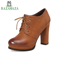 RAZAMAZA Size 33 43 British Style Women Pumps Cross Strap Round Toe High Heels Shoes Women Platform Vintage Daily Footwear