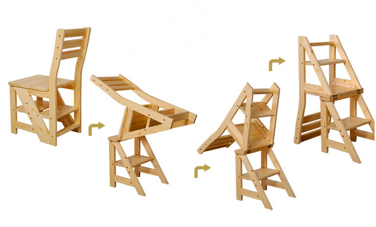 Aliexpresscom Buy Wooden Folding Library Ladder Chair Library