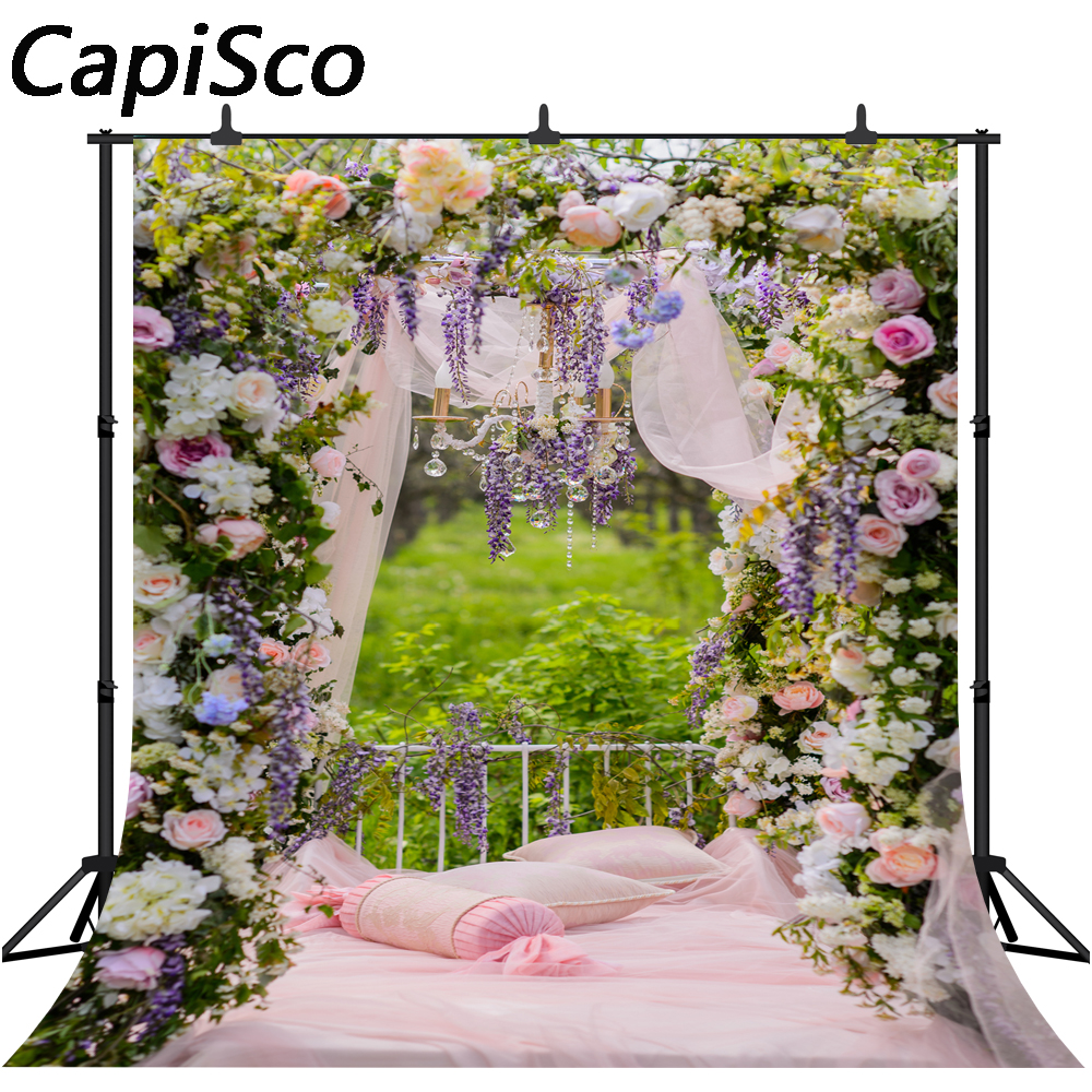 Capisco Photography Backdrop Flower Garden Bed Spring Wedding Background Photocall Decor Photobooth Photo Studio Prop