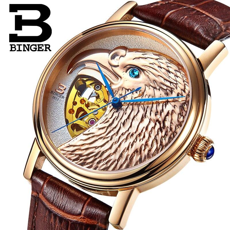 Хелоуин часовници орел модел луксозен марка часовник автоматични механични мъжки часовници розово злато циферблат ръчно издълбани relogio masculino