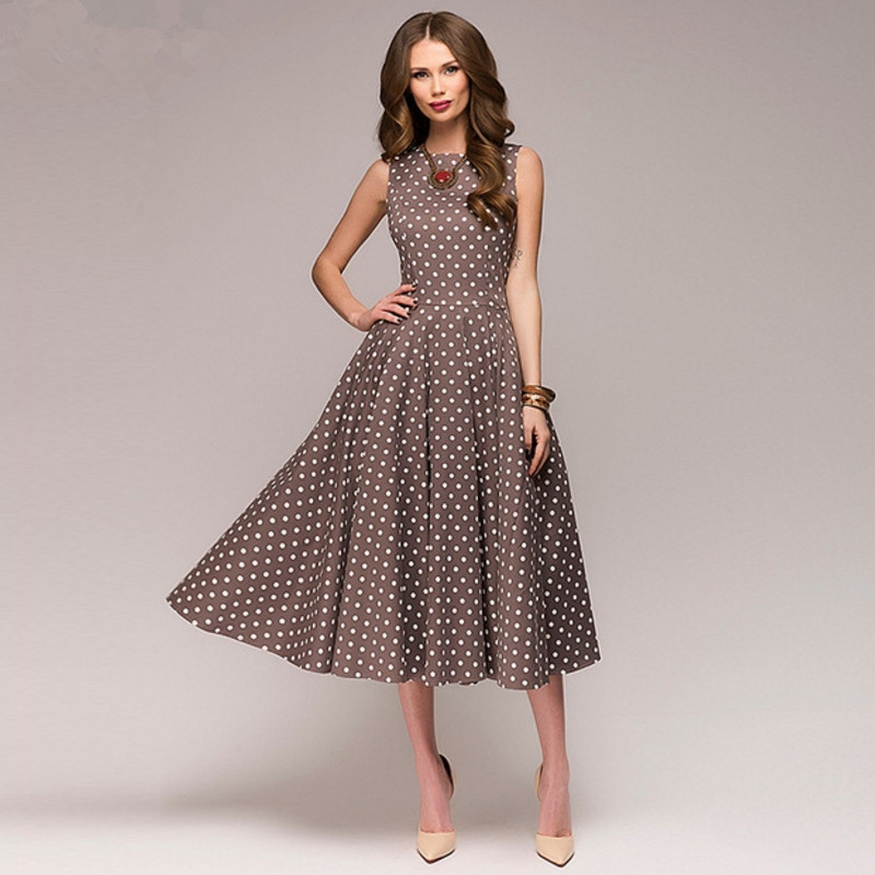 Vintage dress 2018 Summer New sleeveless O-neck vestidos Women elegant thin dot printing Mid-Calf casual dress Female