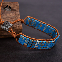 Asingeloo Blue Turquoise Leather Rope Wrap Thread Handmade Tube  Jewelry Vintage Cuff Bracelet  Bohemia