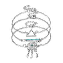 цена на Bracelet for Women Personality Turquoise Triangle Arrow Dreamcatcher Alloy Bracelets Jewelry