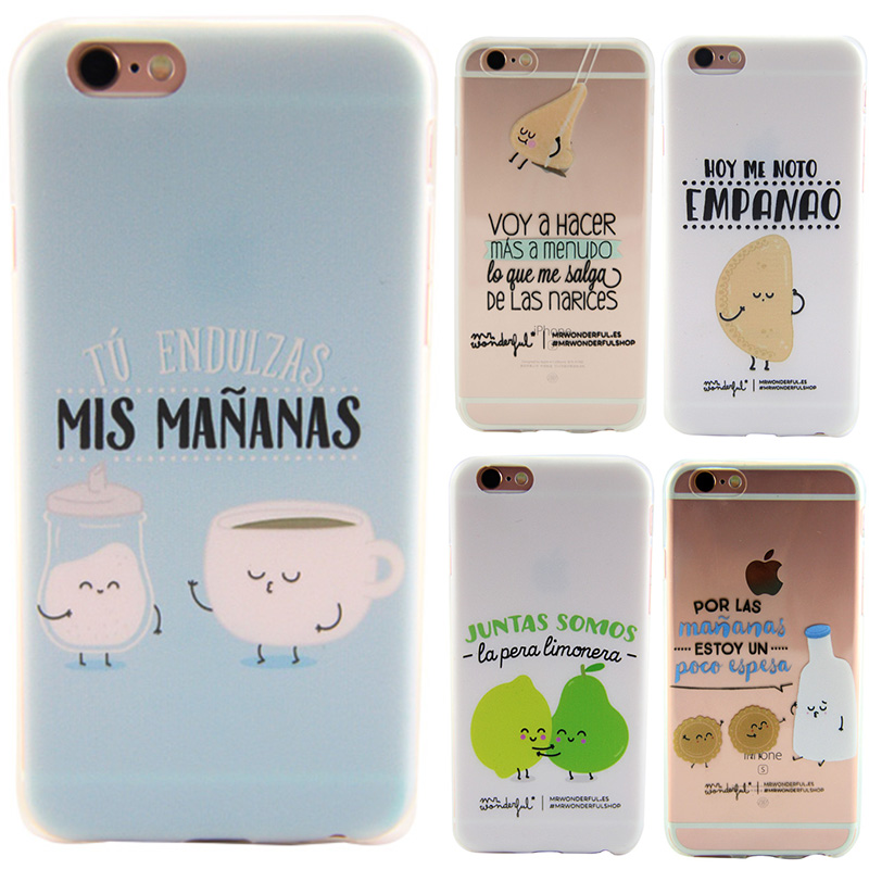 Cute Cover Case For iPhone 6 6S 6 S Mr Wonderful Cartoon Transparent Soft Silicone TPU Coque Capinha For iPhone 6 6S 6 S Case