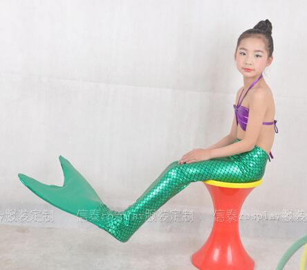 Free shipping childrens girl blue/green/pink/purple ariel mermaid cosplay fish tail fairy tale dress party/festival halloween