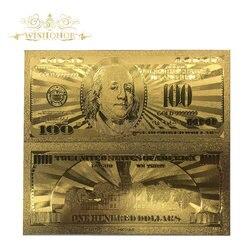 Банкнота из американской золотой фольги, 10 шт./лот, 100 доллара сша, 100 доллара, искусственные деньги для коллекционирования подарков и домашн...