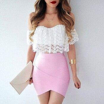 Bqueen 2019 Casual Women Solid Irregular High Waist  Elastic Mini Bandage Skirts Summer Sexy Slim Pencil Bodycon Skirts 2