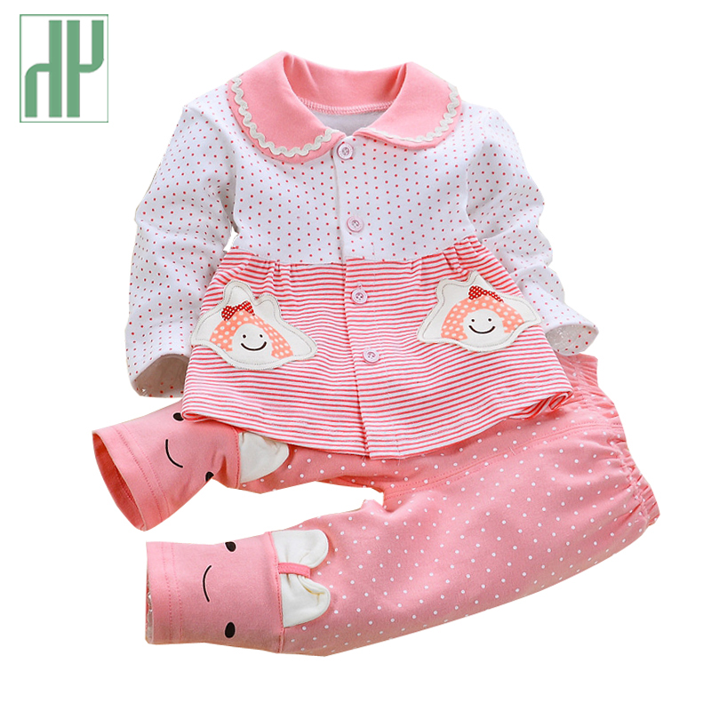 Bebé recién nacido ropa de primavera otoño bebé fijado ropa de algodón Niños ropa infantil de Manga Larga Trajes 2 Unids chándal bebé conjunto