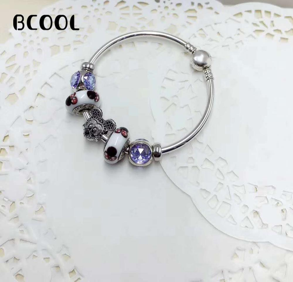 925 Sterling Silver Original 1:1, Fashionable Silver Bracelet, Suitable For Female Lovely Mouse Crystal Beads Bracelet Jewelry