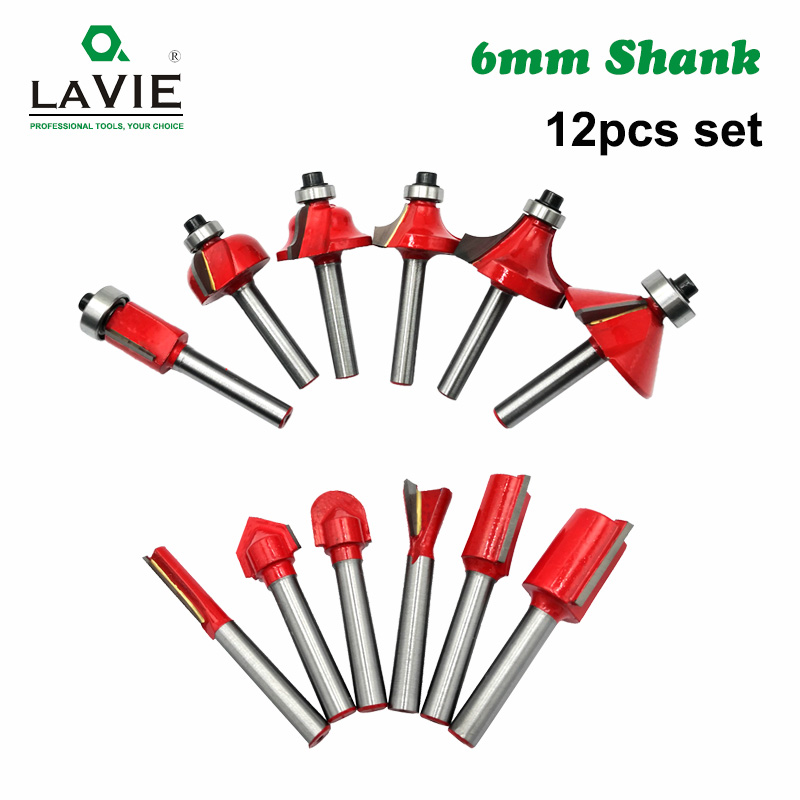 12pcs 6mm Shank Router Bit Set Trimming Straight Corner Beading Bits For Wood Milling Cutter Carbide Cutting Woodwork Tool 06011