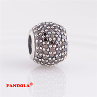 Fits Pandora Bracelet Pink Crystal Pave Ball Charms Beads Authentic 925 Sterling Silver Charm Women DIY Jewelry LW170E