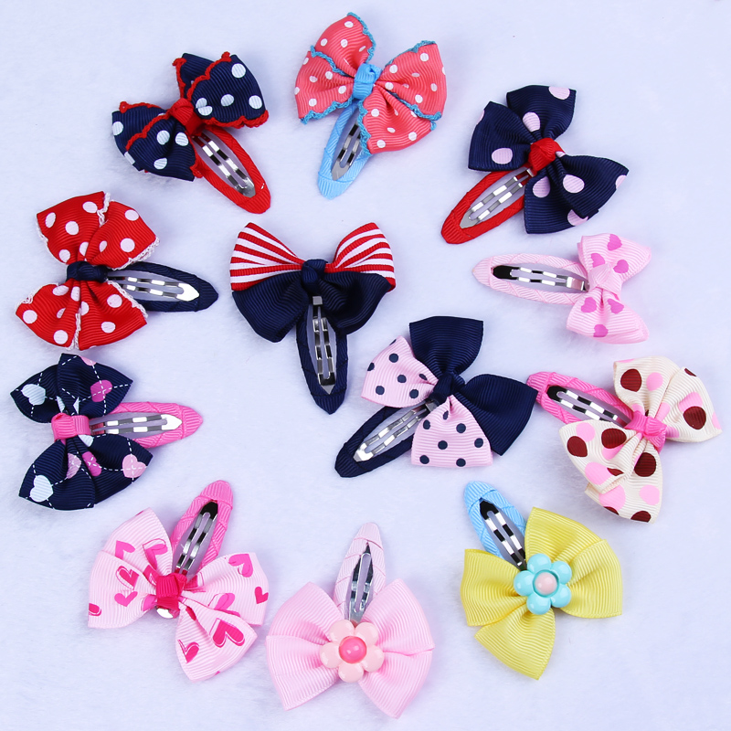 1PC New Print Cute Little Girls Hair Clips Grosgrain Spot Stripe Bow Barrettes Kids Hairpins Children BB Clips Hair Accessories 2017 new fashion hair clips for girls santa claus christmas tree snowman elk pattern xmas hairpins barrettes hair accessories