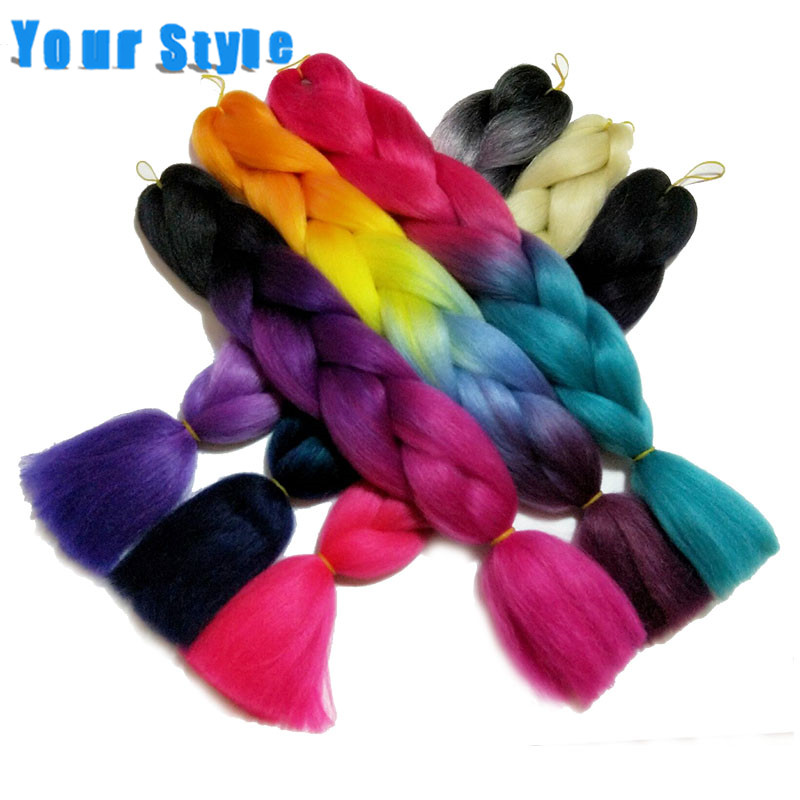 Your Style Ombre  Hair Synthetic Braiding Hair Extensions For Braids Curly Crochet Hair  24'' 100g/pc Hair Attachment