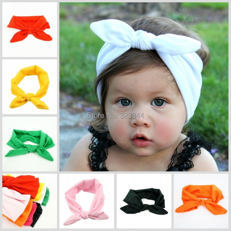 Lovely Bunny Ear Headband Scarf 8pcs/lot Hair Head Band Cotton Bow elastic Knot Headband rabbit baby hair accessories kids