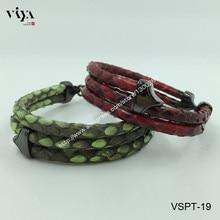 Wholesale Genuine Python Leather Bracele 925 Silver Jewelry High-end luxury Bracelet For Men Christmas Gift  For Rock Boy.