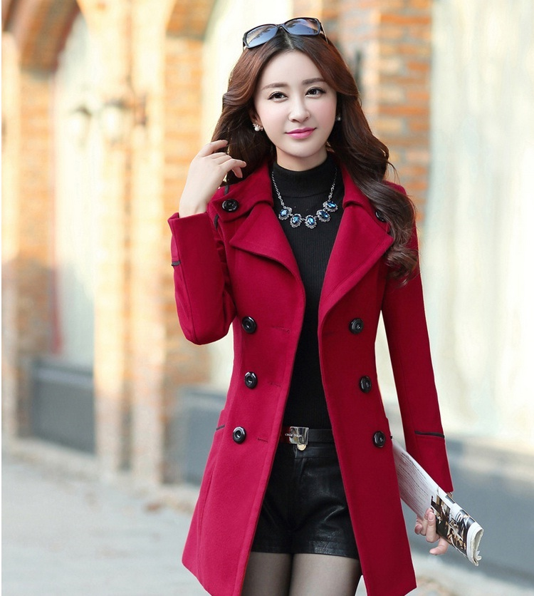 YAGENZ M-3XL Autumn Winter Wool Jacket Women Double Breasted Coats Elegant Overcoat Basic Coat Pockets Woolen Long Coat Top 200 5