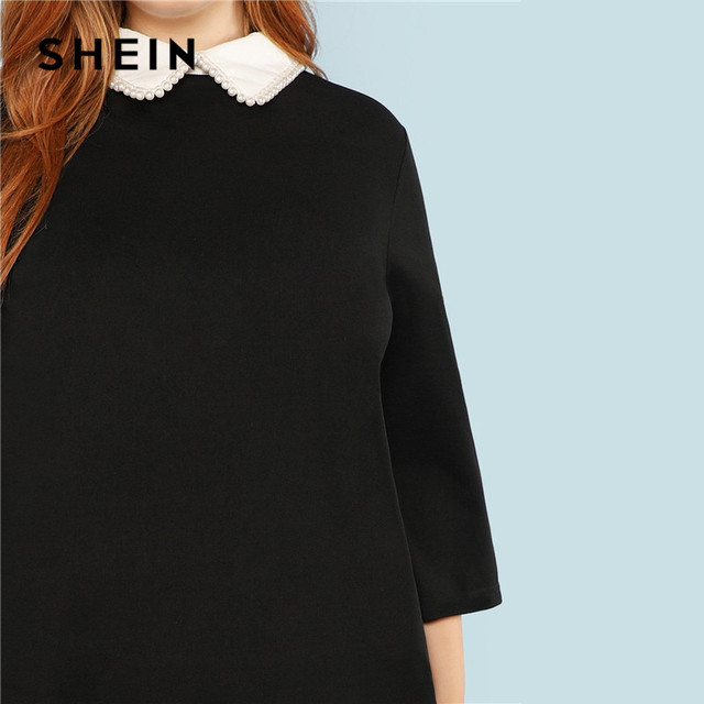 SHEIN Plus Size Black Cute Peter pan Collar Beading Pearl Embellished A-Line Loose Dresses Women Spring Autumn Knee-Length Dress 4