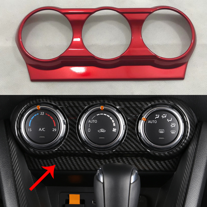 Red For Mazda CX-3 CX3 Air Conditioning Control Knob Panel Cover 2016 2017 ABS Carbon Fiber Material Accessories LHD/RHD