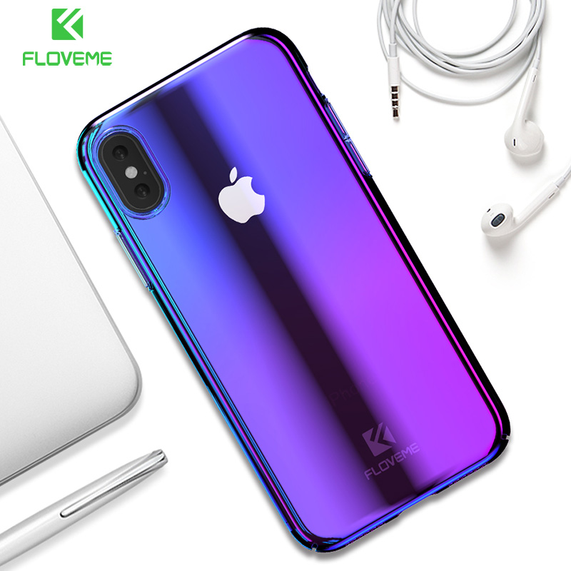 FLOVEME Luxury Gradient Plated Case For iPhone X XS Max XR Blue Ray Light Clear Cover Case For iPhone 7 8 6 6s Plus 5S kaplama