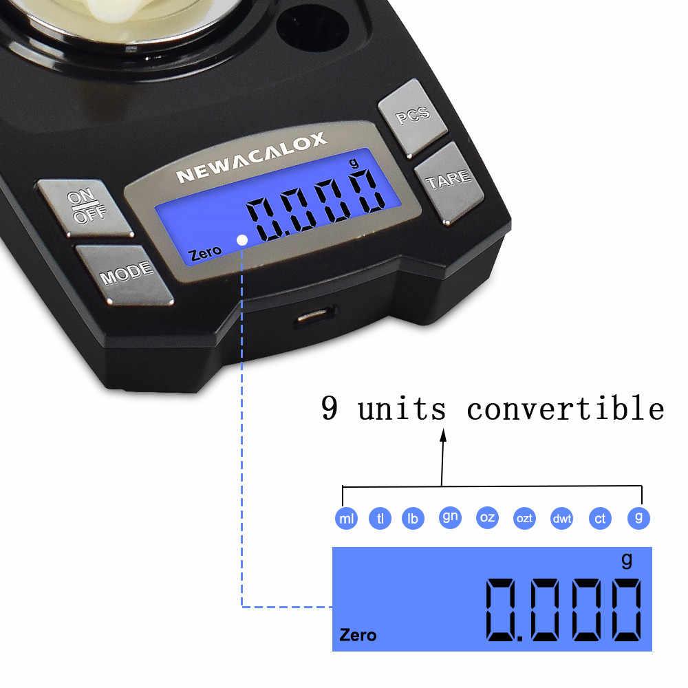NEWACALOX 100g/50g x 0.001g ميزان إلكتروني رقمي صغير USB شحن مقياس ميزان مجوهرات الدقة مختبر الطب