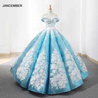 J66662 jancember light blue quinceanera dresses 2019 swollen off the shoulder white flowers debutante dresses vestido de baile