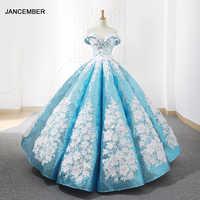 J66662 jancember light blue quinceanera dresses 2019 swollen off the shoulder white flowers debutante dresses vestido de baile