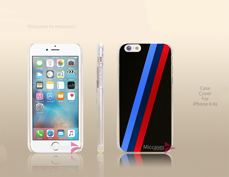 Azure Blue Red For BMW M Stripe Hard Transparent Clear Case Cover for apple iphone 4 4s 5 5s 5c se 6 6s plus