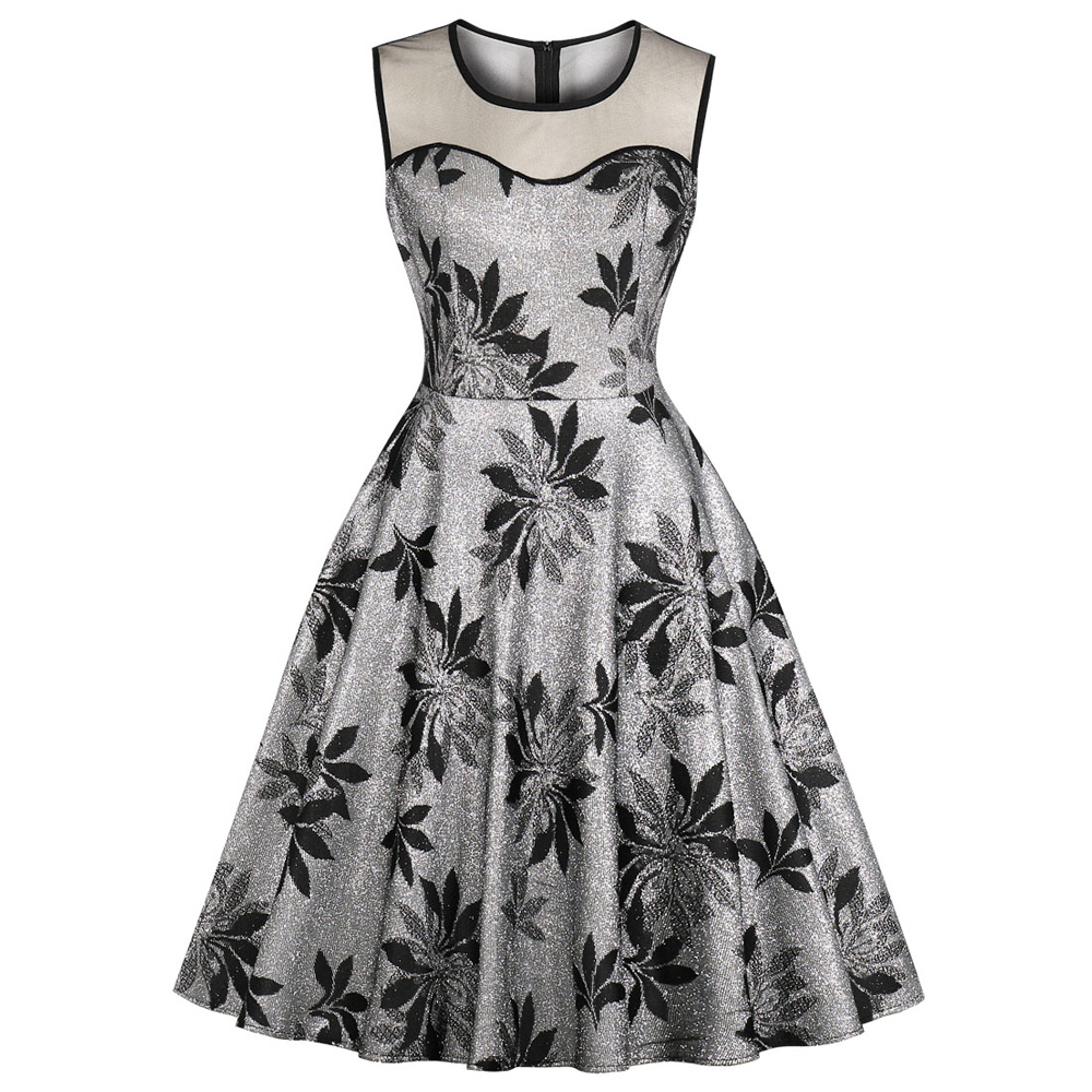 New Summer Dress Leaf Print Lace Shining Threads Retro Dress Round Neck Sleeveless Women Vintage Dress Party Rockabilly Vestidos