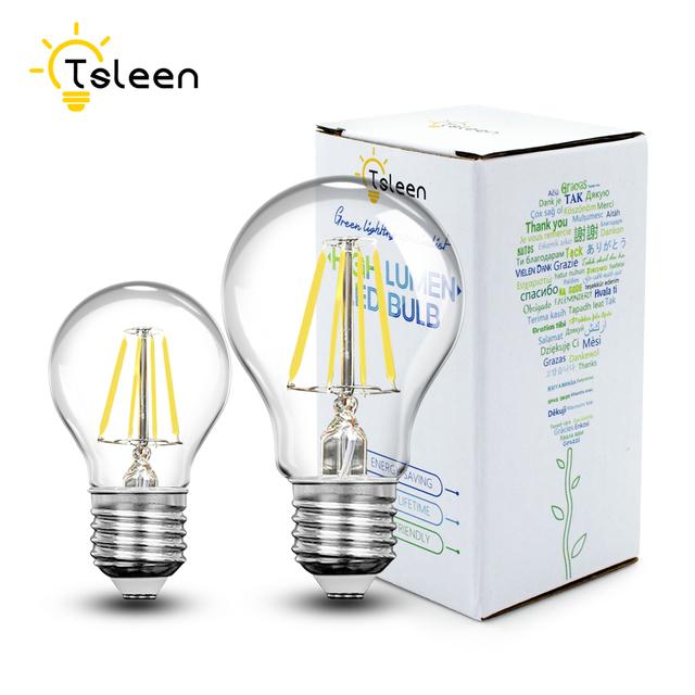 TSLEEN E27 E26 Edison Dimmable Filament LED Bulb Vintage Round Light G45/A60 Lamps Energy Saving Soft Lighting