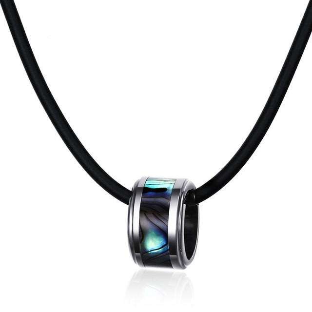 Mens Choker Necklaces Tungsten Carbide Inlay Abalone Shell Pendant Black Leather Rope Chain Statement Necklace Fashion Jewelry