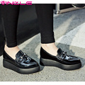 VINLLE 2017 Women Pumps Spring/ Autumn Shoes Metal Decoration PU Platform Slip on Pointed Toe Wedges Heel Women Shoes Size 34-42