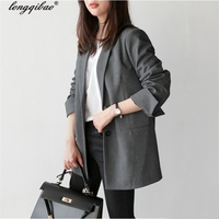 2018 New Spring Fashion Plaid Blazer Casual Suit Women Blazer Slim Double Breasted Work Design Coat jackets