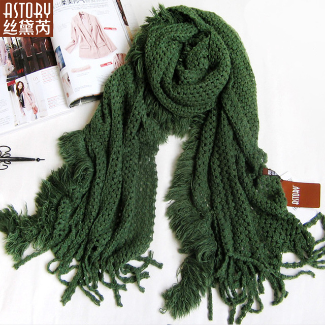 Astory wire spring and summer Women wool long design solid color thickening 2013 plus size scarf cape