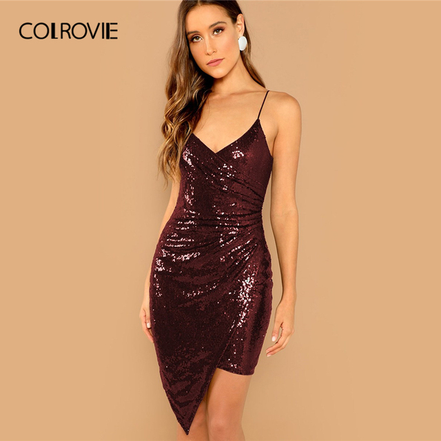 COLROVIE Burgundy Solid V Neck Surplice Wrap Sequin Cami Party Dress Women  2019 Spring Korean Sleeveless Bodycon Sexy Mini Dress cac54cb72851