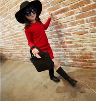 2018 New Autumn Item Girl Fashion Knitting Dress Two Colors Tops & Tees