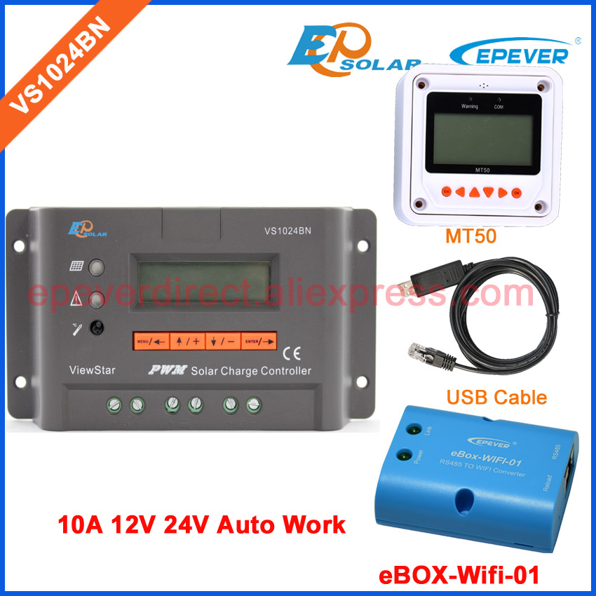 Solar PWM controller 12v 24v charger VS1024BN 10A 10amp USB cable connect PC wifi BOX connect APP use and meter MT50 with white color mt50 remote meter epsolar pwm solar battery charger controller bluetooth function usb cable ls2024b 20a
