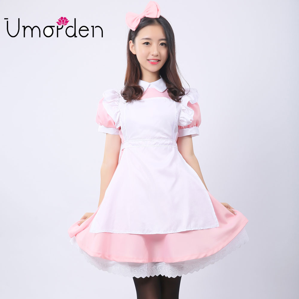 Umorden Pink Women Maid Maids Cosplay Klær Alice in Wonderland Kostyme Kostymer Fancy Lolita Dress