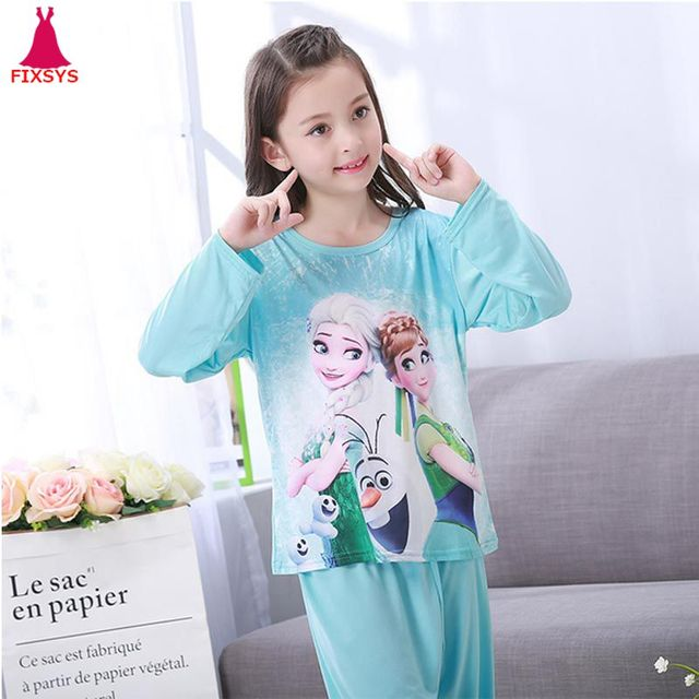 Autumn 2018 Pyjamas Kids Girls Clothes Set Frozen Cartoon Styling Nightwear  Print Children s Pajamas Baby Sleepwear Suits 3-13T b51d8493e