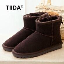 TIIDAขายHot Topคุณภาพผู้หญิงรองเท้าหิมะ100%ธรรมชาติขนฤดูหนาวบู๊ทส์ผู้หญิงแท้หนังแกะหนังอบอุ่นขนสัตว์ข้อเท้ารองเท้า