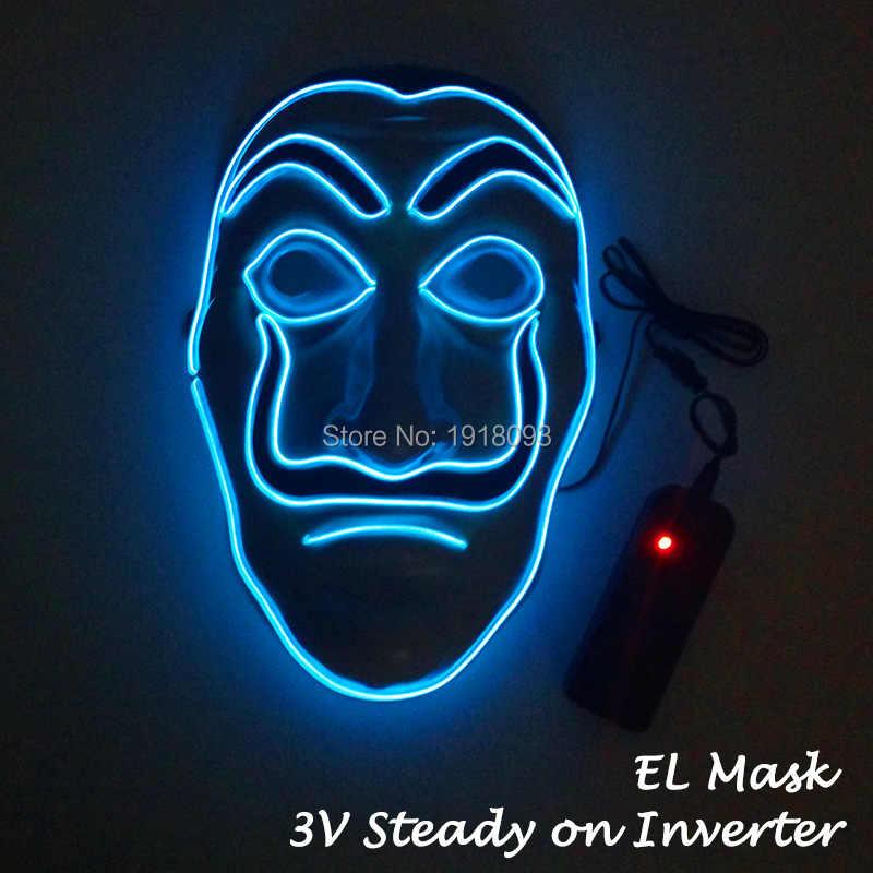 휴일 조명에 대 한 새로운 el 마스크 테마 파티 및 메이크업 파티에 대 한 성격 장식 led 마스크 10 색상을 사용할 수