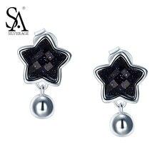 SA SILVERAGE Esterlina del Sólido 925 Silver Star Pendientes de Gota mujeres negro estrella pendientes Pendientes de Gota de la boda con el regalo libre caja