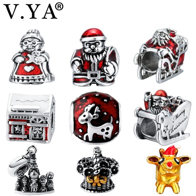 V.YA Christmas' Beads fit for Pandora Bangle Bracelets Women Men DIY Jewelry Old Man/Sled/Elk Shape Charms for Children Gifts