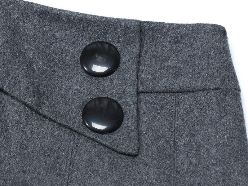 Теплые зимние юбки женские осенние размера плюс Пуговицы декоративные молнии закрытые серый черный цвет базовые плиссированные шерстяные юбки