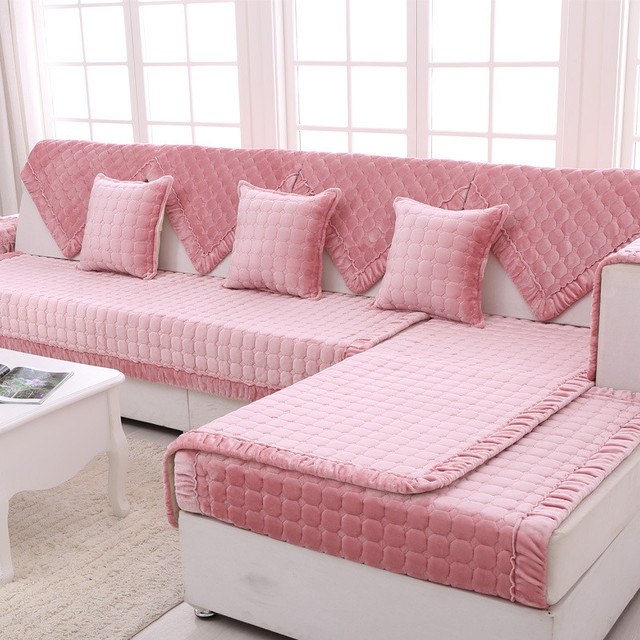 Flannel Fabric Plush Home Textile Elastic Sofa Covers for