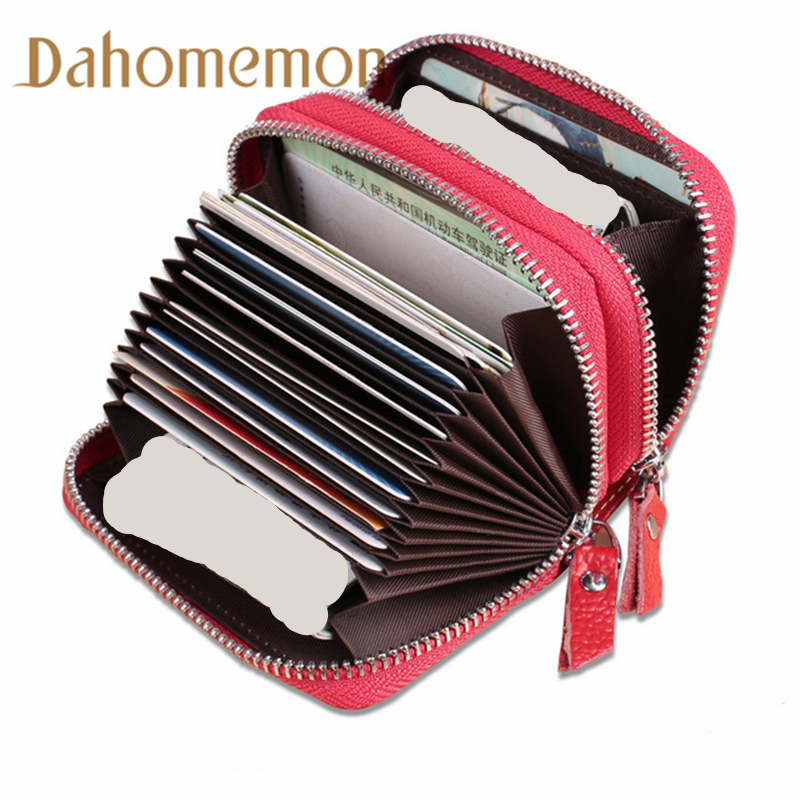 Genuine Leather Unisex Business Card Holder Solid Cards Storage Card ID holders Case Supplies Women Large capacity cardholder 2018 pu leather unisex business card holder wallet bank credit card case id holders women cardholder porte carte card case