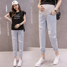 Maternity Jeans Spring Autumn Pregnancy Clothes Denim Trousers For Pregnant Women Plus Size Hole Jeans Maternity Denim Pants недорого