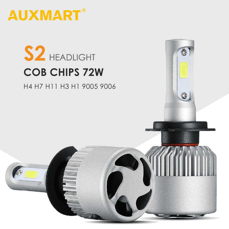 AUXMART H4 H7 LED Bulbs Car Headlight Hi-Lo Beam 72W 6500K COB Chips H13 9012 9005 9006 9007 H1 H3 H11 Automibiles LED Headlamps