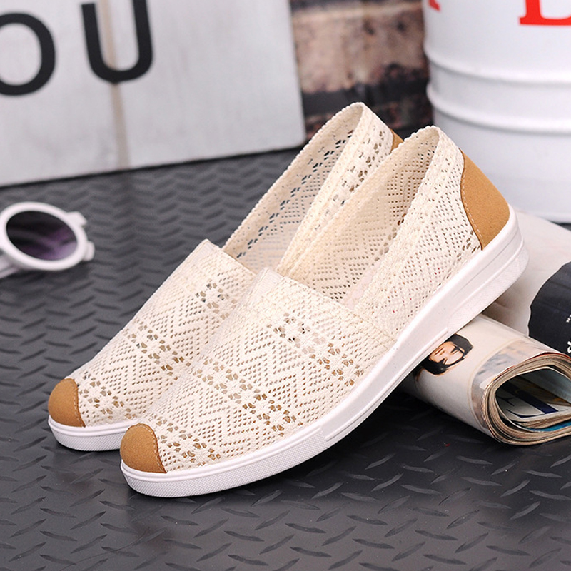 Women Flats 2020 Spring  Summer Shoes Breathable Mesh Women Loafers Sewing Decor Women Flat Shoes White Pisos De Mujeres